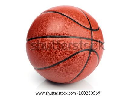 An orange basketball ball on white background - stock photo