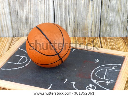 An orange basketball on a wood floor in front of a wood wall with set plans is a great image for basketball season, March Madness,or championship playoffs. Set plans are on blackboard. Copyspace. - stock photo