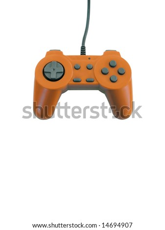 An orange gamepad isolated over white with plenty of copy space.  This file includes the clipping path. - stock photo