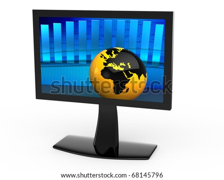 An orange globe in the background blue graph on the screen - stock photo