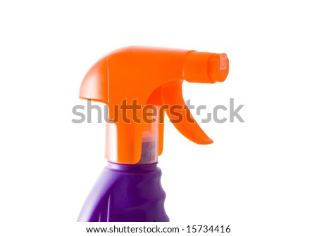 an orange plastic sprayer isolated on the white background