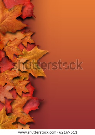 An orange, red fall background border for the season. Leaves are piled up on the side of the frame with copyspace for your text. Can be used as a Halloween or Thanksgiving image too. - stock photo