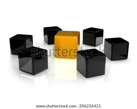 an orange reflective cube with black refelctive cubes. In the same series - stock photo