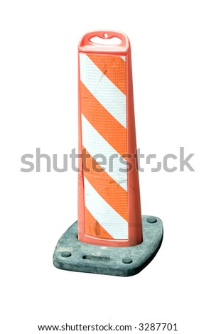 an orange roadway barricade with orange and white reflective markings isolated on white.