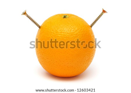 An orange screwed with two pieces of screw. - stock photo