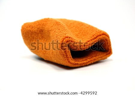 an orange sweat band on white background