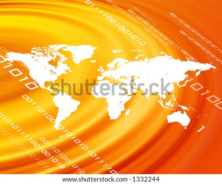An orange world map montage over a blue background. - stock photo