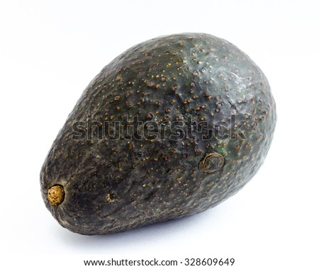An organic fresh ripe avocado isolated on white background