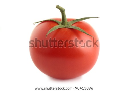 An organic vine-ripened tomato, isolated on a white background. - stock photo