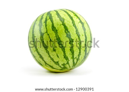 An Organic Watermelon for One Person isolated on White - stock photo
