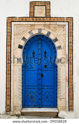 An oriental entrance found in Tunisia - stock photo