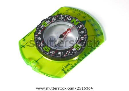 An orienteering compass isolated on a white background - stock photo