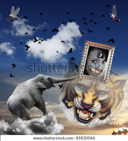 An original digital artwork of a dreamy surreal landscape with animals and mythical creatures, titled An Asian Woman dream of Emancipation. - stock photo