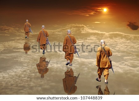 An original digital artwork of a group of anonymous monks with reflections walking into the horizon of a surreal sunset landscape, titled Path to Divinity. - stock photo