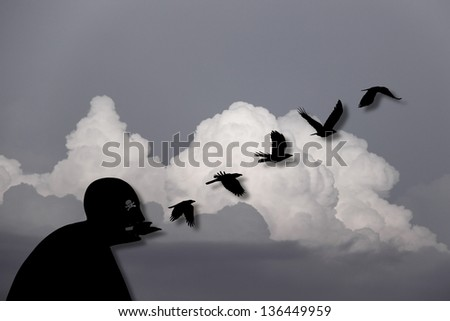 An original digital artwork of a silhouette man with symbol of a skull and crossbones in its eye, regurgitating a stream blackbird against a dreamy surreal cloudscape, titled Death is in the Air. - stock photo