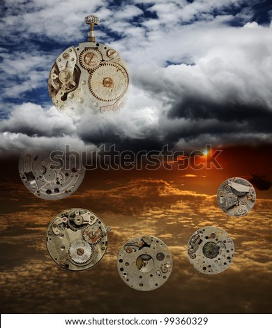 An original digital artwork of skeletons of timepiece circulating in a dreamy surreal cloudscape, titled The Aging Passage of Time. - stock photo