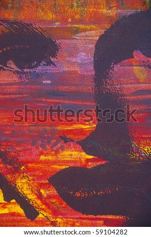 an original oil painting of highly stylised image