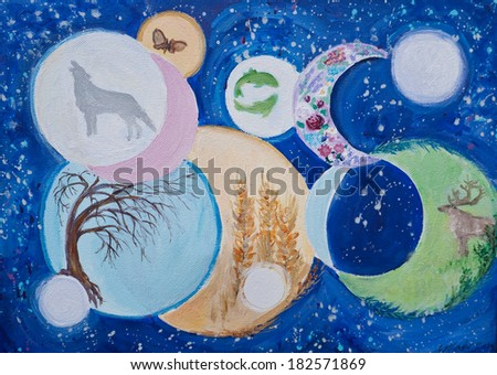 An original painting illustration of the phases of the moon . The moons are associated with symbols including the wolf, fish and roses. the background is a blue sky with stars. - stock photo
