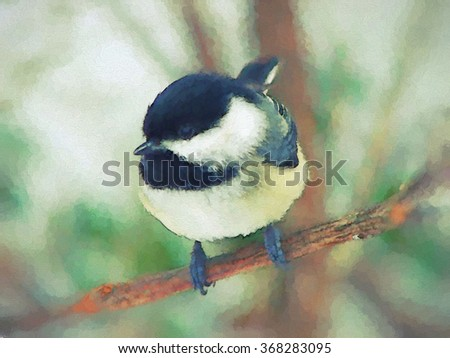 An original photograph of a black capped chickadee transformed into a colorful pointillism style toned painting