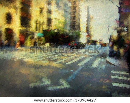 An original photograph of a busy New York City street at dusk transformed into a colorful abstract painting