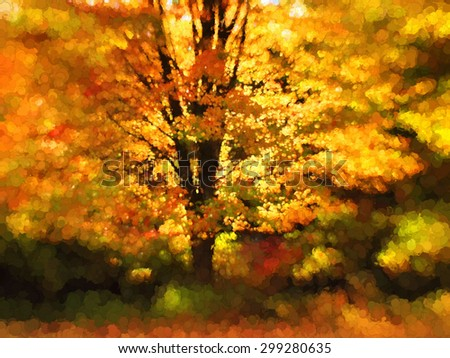 An original photograph of a colorful tree in autumn transformed into a vivid digital painting - stock photo