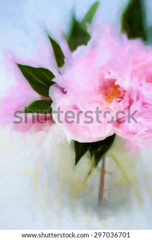 An original photograph of a pink peony bouquet transformed into a digital painting - stock photo