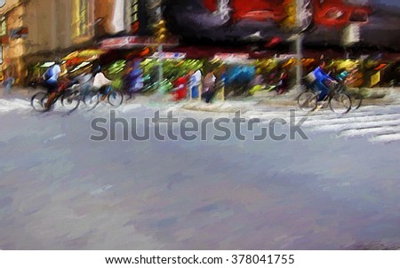 An original photograph of bicyclists crossing a busy Manhattan street transformed into a colorful abstract painting