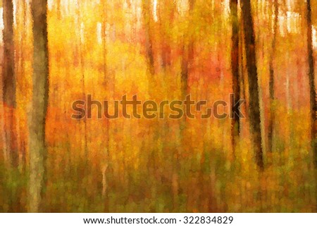 An original photograph of the autumn woods in the Poconos transformed into an abstract pointillism painting