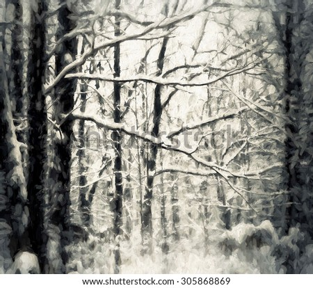An original photograph of the winter woods of Pennsylvania transformed into a digital painting - stock photo
