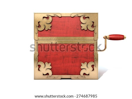An ornate antique closed jack-in-the-box mad of red wood and gold trimmings on an isolated white studio background - stock photo