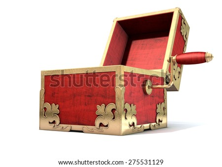 An ornate antique open jack-in-the-box mad of red wood and gold trimmings on an isolated white studio background - stock photo