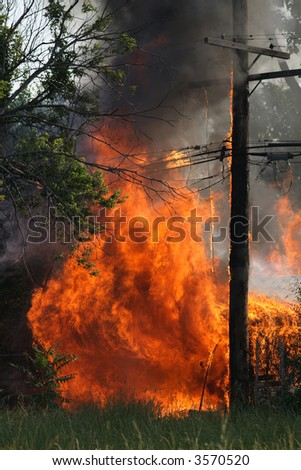 An out of control garage fire in Detroit - stock photo