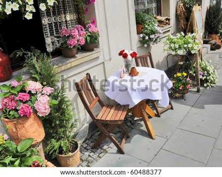 An outdoor cafe in Europe - stock photo
