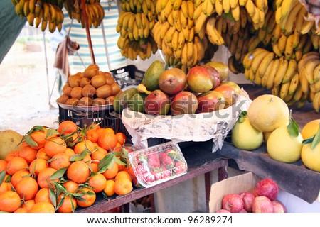 An outdoor fruit market, Lebanon - stock photo