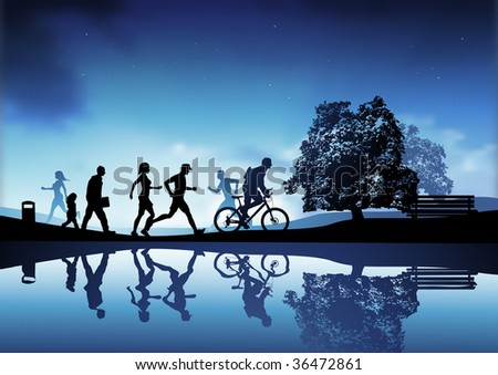 An outdoor park scene with people walking, running and cycling. Vector illustration.