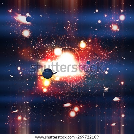 An outer space background with planets, sky and stars.  - stock photo