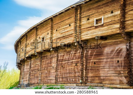 An outer wall of the Baturin Citadel - wooden cossack's fortification. Baturin, Ukraine. - stock photo