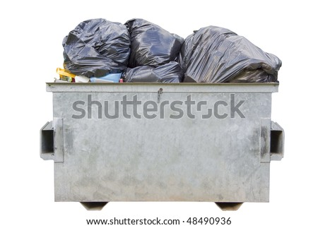 An overfull dumpster bin isolated over white with clipping path - stock photo
