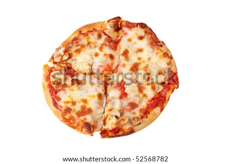 An overhead shot of a small, personal-sized mushroom pizza, sliced into four pieces. Isolated with clipping path. - stock photo