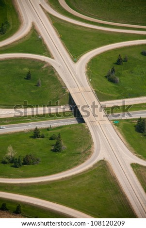 an overpass as part of a highway on ramp - stock photo