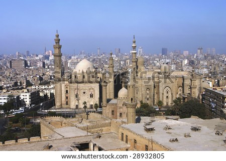 An overview of Cairo from the Citadel - stock photo