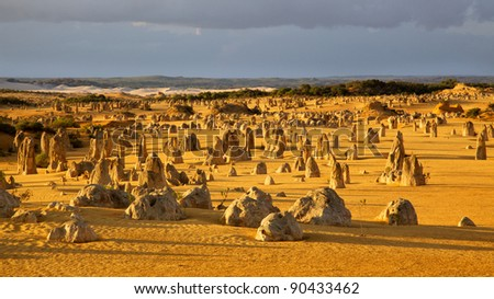 An overview of part of the Pinnacles Desert in the heart of the Nambung National Park, Western Australia. - stock photo