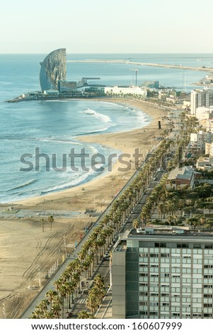 An overview of the beach in Barcelona, Spain - stock photo