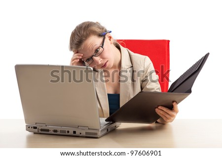 An overworked office staff with burnout - stock photo
