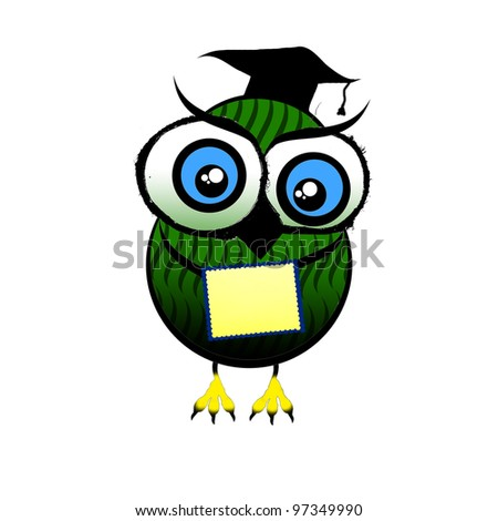 an owl with a letter on a white background