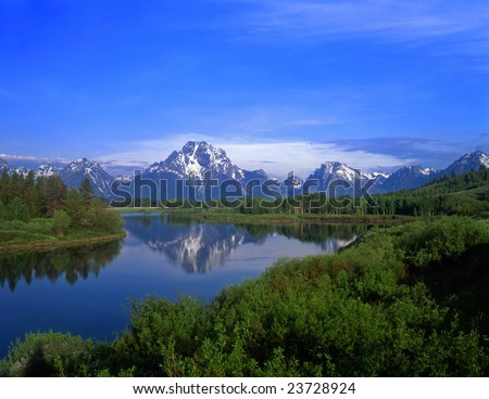 An Oxbow Bend of the Snake River with Mt. Moran and the Teton Mountain Range located in Grand Teton National Park, Wyoming. - stock photo