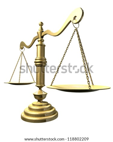 An perspective view of an old school gold justice scale on an isolated background - stock photo