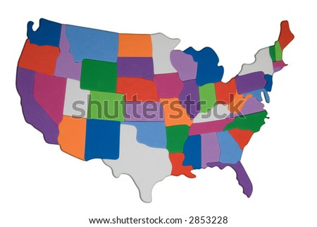 An photo illustration of the US with colored textured states and a white background background