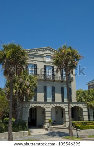 An 1800's era Battery Romanesque House style of architecture in Charleston, South Carolina. - stock photo
