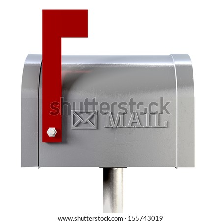 An side view of an old school retro tin mailbox with a red flag pointing upward showing that mail is present and an embossed mail envelope sign on an isolated background - stock photo